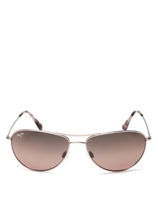 SEA HOUSE 60MM POLARIZED TITANIUM AVIATOR SUNGLASSES - ROSE GOLD/ MAUI ROSE