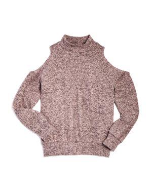 Aqua Girls' Cold-Shoulder Mock-Neck Sweater, Big Kid - 100% Exclusive