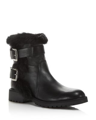 RUSTIC LEATHER AND RABBIT FUR MOTO BOOTIES