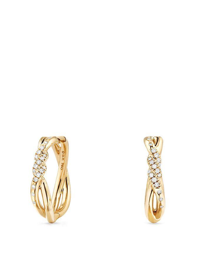 David Yurman - Continuance Knot Hoop Earrings with Diamonds in 18K Gold