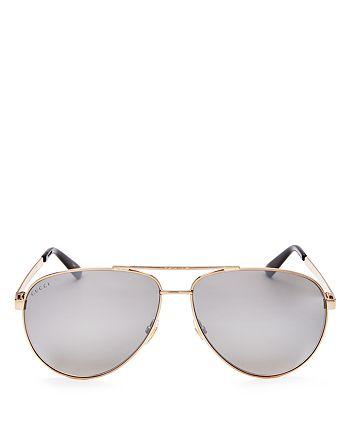 2556d74e8195 Gucci - Men's Retro Signature Stripe Mirrored Brow Bar Aviator Sunglasses,  ...