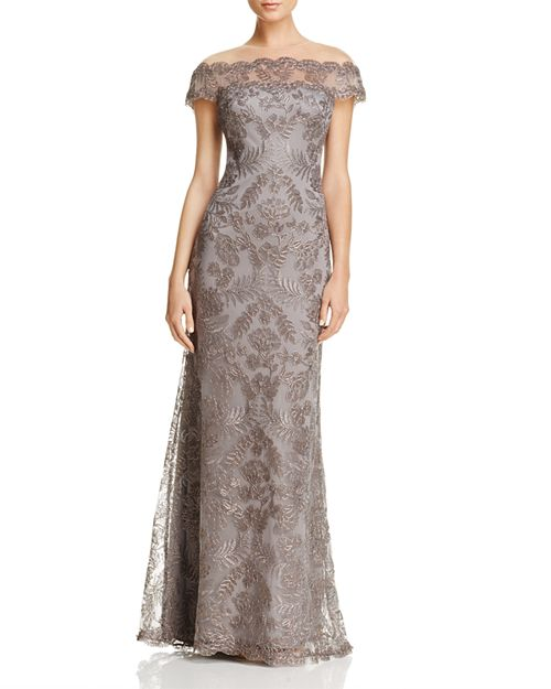 Tadashi Shoji Illusion Off-The-Shoulder Lace Gown | Bloomingdale\'s