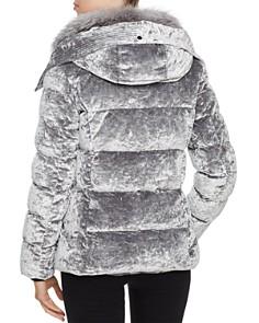 Andrew Marc - Fox Fur Trim Velvet Down Coat