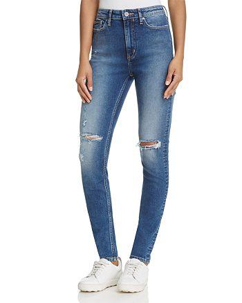 Calvin Klein - Distressed Skinny Jeans in Blue Hazard
