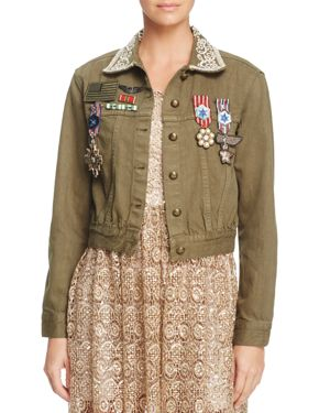 Alice + Olivia Chloe Embroidered Cropped Jacket
