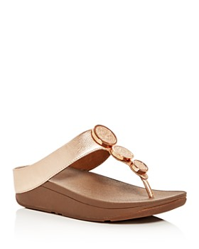 FitFlop - Women's Halo Embellished Metallic Platform Thong Sandals
