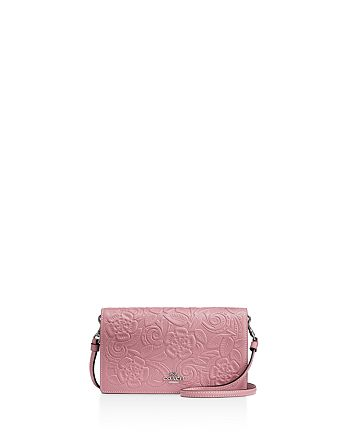 f9da116e91d4 COACH - Foldover Crossbody Clutch in Glovetanned Leather with Tea Rose  Tooling