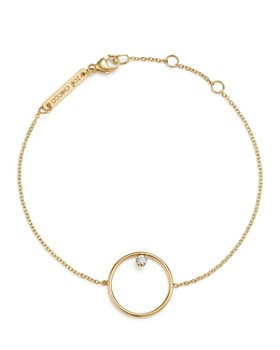 Zoë Chicco - 14K Yellow Gold Circle Charm Bracelet with Diamond