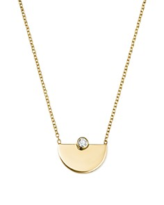 Zoë Chicco - 14K Yellow Gold Horizon Diamond Pendant Necklace, 16""