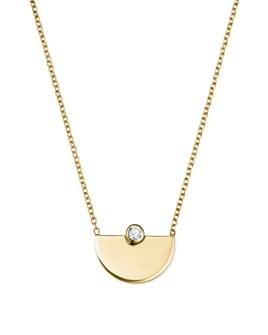"Zoë Chicco - 14K Yellow Gold Horizon Diamond Pendant Necklace, 16"""