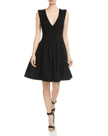 $HALSTON HERITAGE Pleated Fit-and-Flare Dress - Bloomingdale's