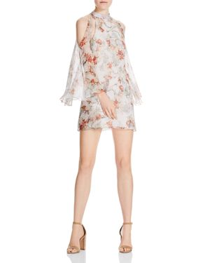 Haute Hippie Paradise Floral Silk Cold Shoulder Dress
