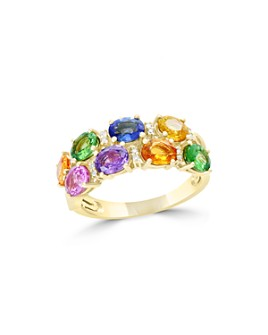 Bloomingdale's - Multicolor Sapphire, Diamond and Tsavorite Ring in 14K Yellow Gold - 100% Exclusive