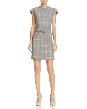 Theory Mod Belted Plaid Dress