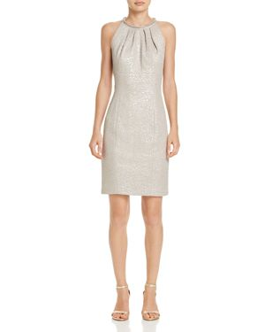 Eliza J Embellished-Neck Textured Dress