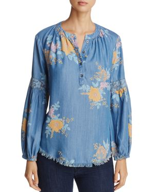 Billy T Poet Floral Print Chambray Shirt