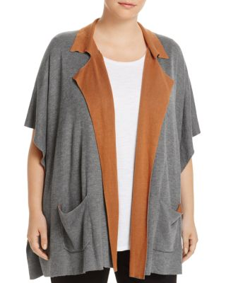 B COLLECTION BY BOBEAU CURVY Cardi Liya Double-Face Short-Sleeve Cardigan, Plus Size in Brown Pattern