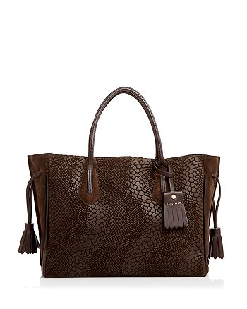 Longchamp - Penelope Medium Python-Embossed Suede Tote