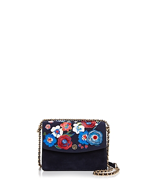 Tory Burch Parker Convertible Embroidered Suede Shoulder Bag