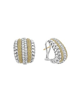 LAGOS - 18K Gold and Sterling Silver Diamond Lux Curved Huggie Hoop Earrings