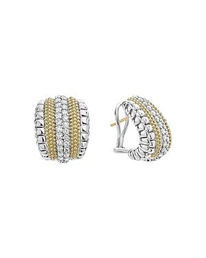 Lagos 18K Gold and Sterling Silver Diamond Lux Curved Huggie Hoop Earrings
