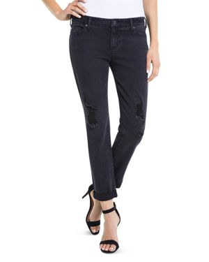 Liverpool Peyton Distressed Slim Boyfriend Jeans in Carbon