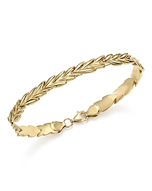 14K Yellow Gold Wheat Link Stampato Bracelet - 100% Exclusive