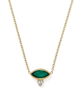 Zoë Chicco - 14K Yellow Gold Diamond & Gemfields Emerald Marquise Necklace, 16""