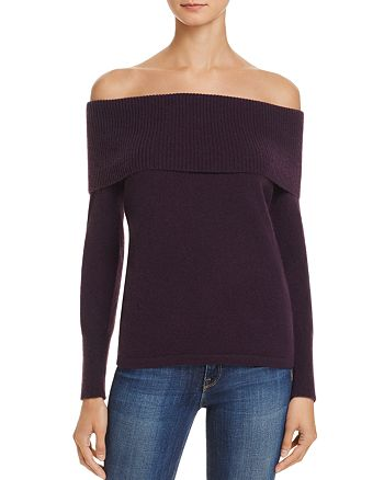 Minnie Rose - Ribbed Off-the-Shoulder Cashmere Sweater
