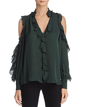 Parker Elana Ruffled Cold-Shoulder Silk Top - 100% Exclusive