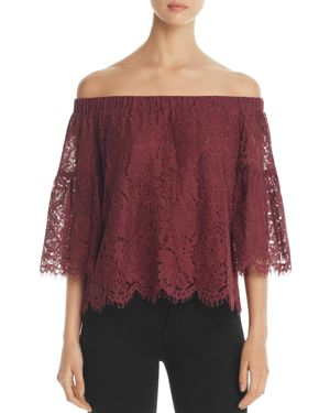 Finn & Grace Off-the-Shoulder Lace Bell Sleeve Top - 100% Exclusive