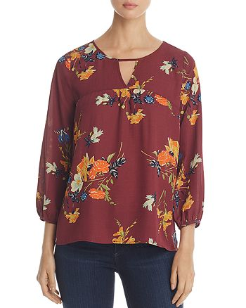 Finn & Grace - Floral Print Keyhole Top - 100% Exclusive