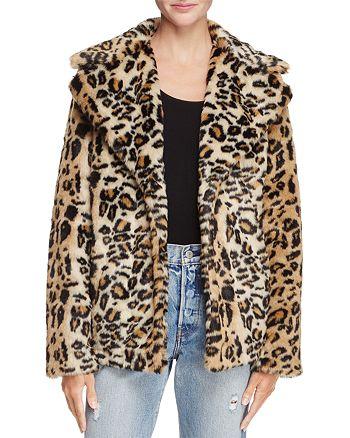 AQUA - Leopard Print Faux Fur Coat - 100% Exclusive