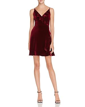Aqua Ruffled Velvet Faux Wrap Dress - 100% Exclusive