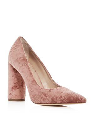 Pour La Victoire Women's Cece Embossed Velvet Pointed Toe Pumps 2665485