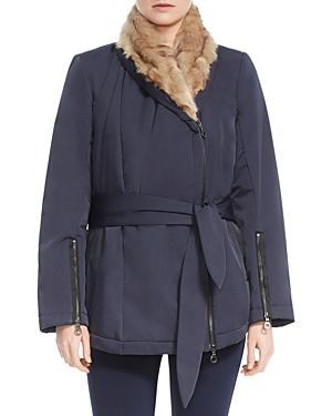 Halston Heritage Faux Fur-Lined Wrap Coat