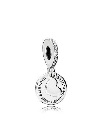 PANDORA - Charm - Sterling Silver & Cubic Zirconia Three Generations Dangle