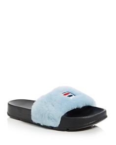 Baja East - x FILA Women's Faux Fur Pool Slide Sandals
