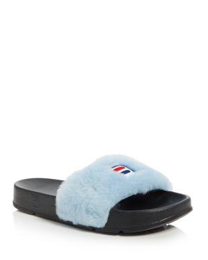 Baja East x Fila Women's Faux Fur Pool Slide Sandals