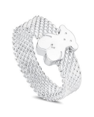 Sterling Silver Mesh Bear Ring