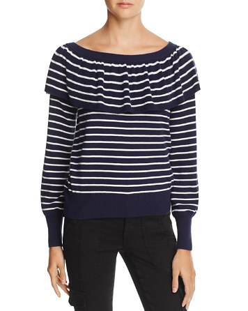 $Joie Adinam Ruffled Striped Sweater - 100% Exclusive - Bloomingdale's