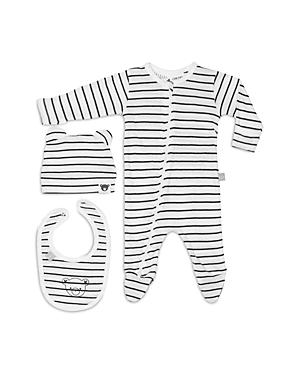 Huxbaby Unisex Striped Footie, Hat & Bib Set - Baby