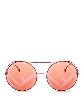 7d1b5eb977 Fendi Women s Mirrored Oversized Logo Print Lens Round Sunglasses ...