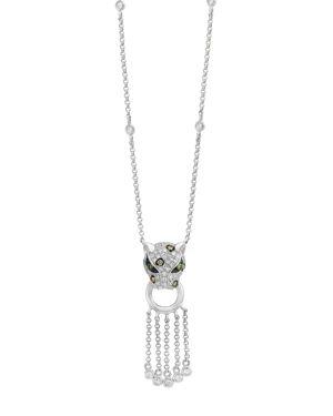 Bloomingdale's White Diamond, Brown Diamond & Tsavorite Panther Pendant Necklace in 14K White Gold,