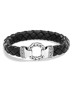 John Hardy Men's Sterling Silver Classic Chain Ring Bracelet with Braided Black Leather - Bloomingdale's_0