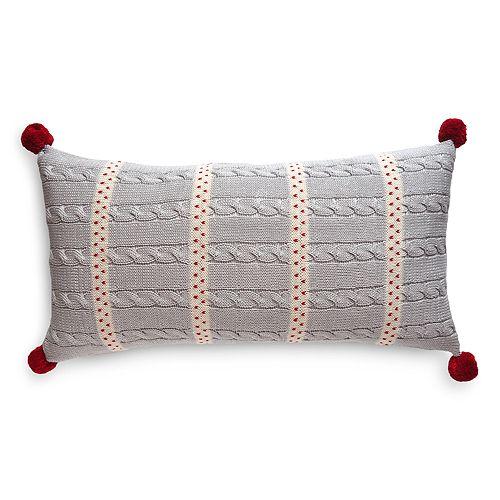 """Melange - Dot Stripe Decorative Pillow, 10"""" x 20"""""""