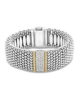 18K Gold & Sterling Silver Diamond Lux Single Station Bracelet, 23Mm