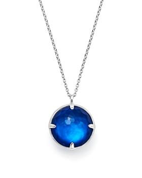 "IPPOLITA - Sterling Silver Wonderland Round Mother-of-Pearl & Quartz Doublet Pendant Necklace in Ultramarine, 31"""