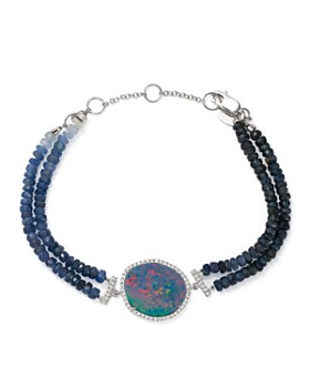 Meira T 14k White Gold Shire Beaded Bracelet With Opal And Diamonds