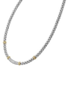 LAGOS - 18K Gold & Sterling Silver Diamond Lux Single Station Necklace, 16""
